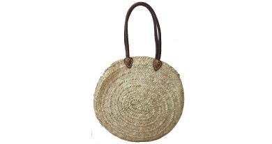 Long leather handle round basket