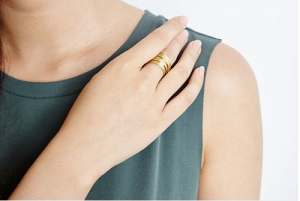 Alexandra Geometric Brass Ring